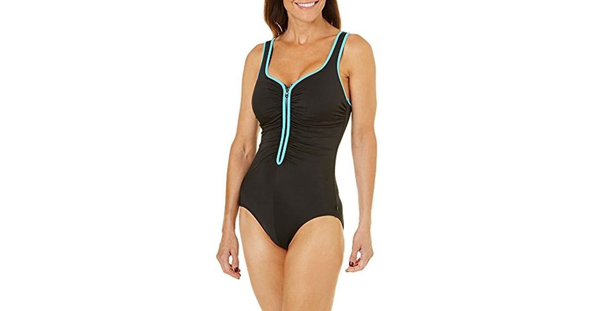 1c2b3debe06bf Lyst - Reebok U-neck One Piece Swimsuit in Black