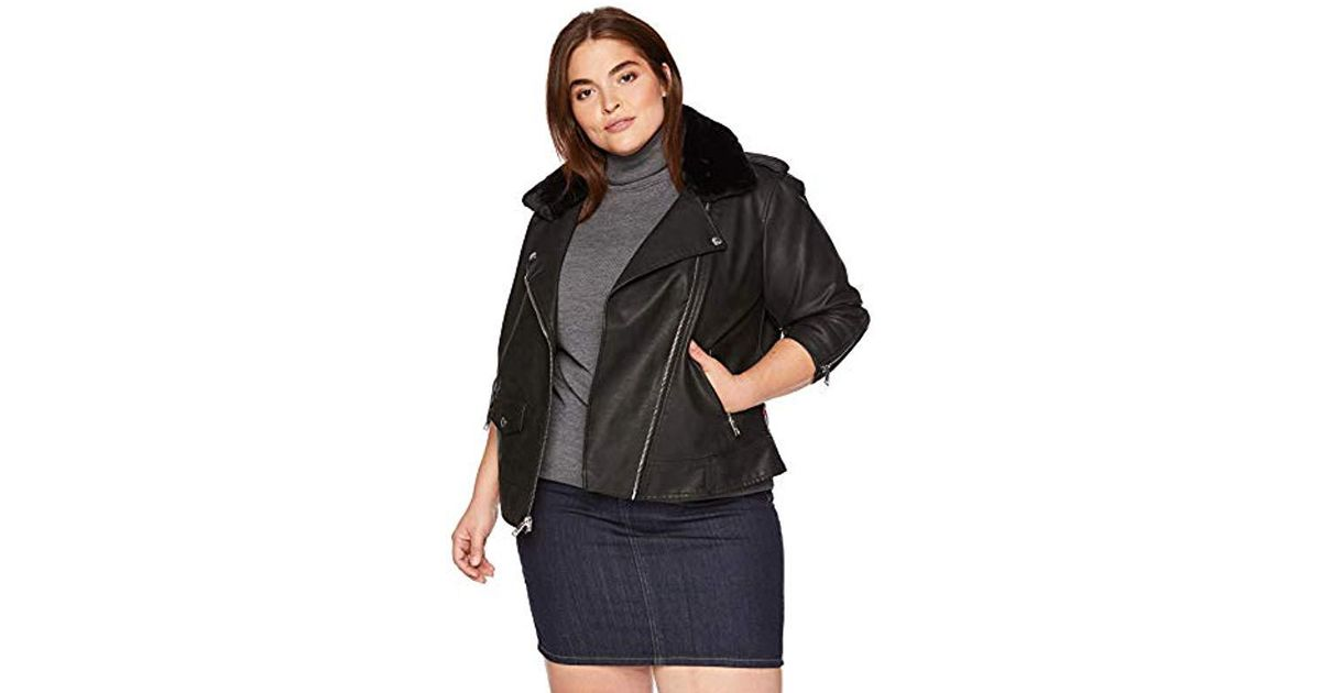 49516102f53 Lyst - Levi s Plus Size Faux Leather Sherpa Motorcycle Jacket in Black
