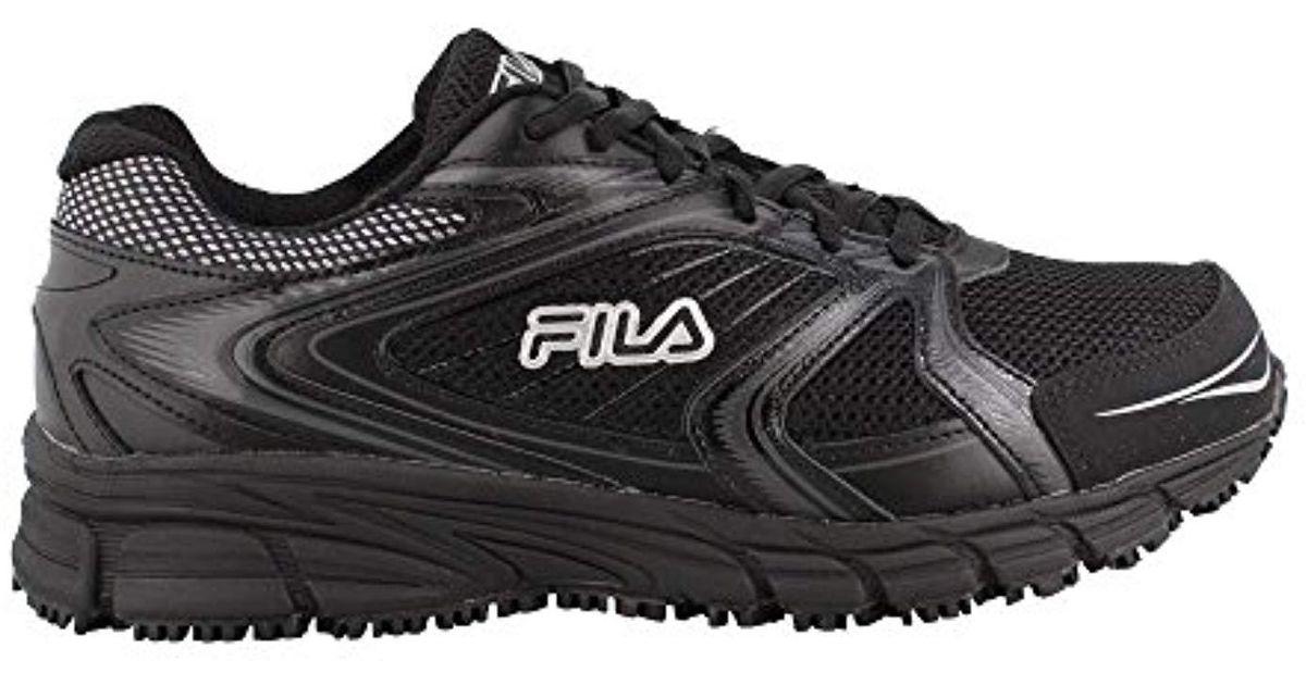 d99e682157 Fila Black Memory Reckoning 7 Work Slip Resistant Steel Toe Running Shoe  for men