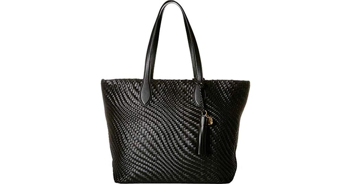 3204ef4ca32b Cole Haan - Black Genevieve Woven Leather Tote Bag - Lyst