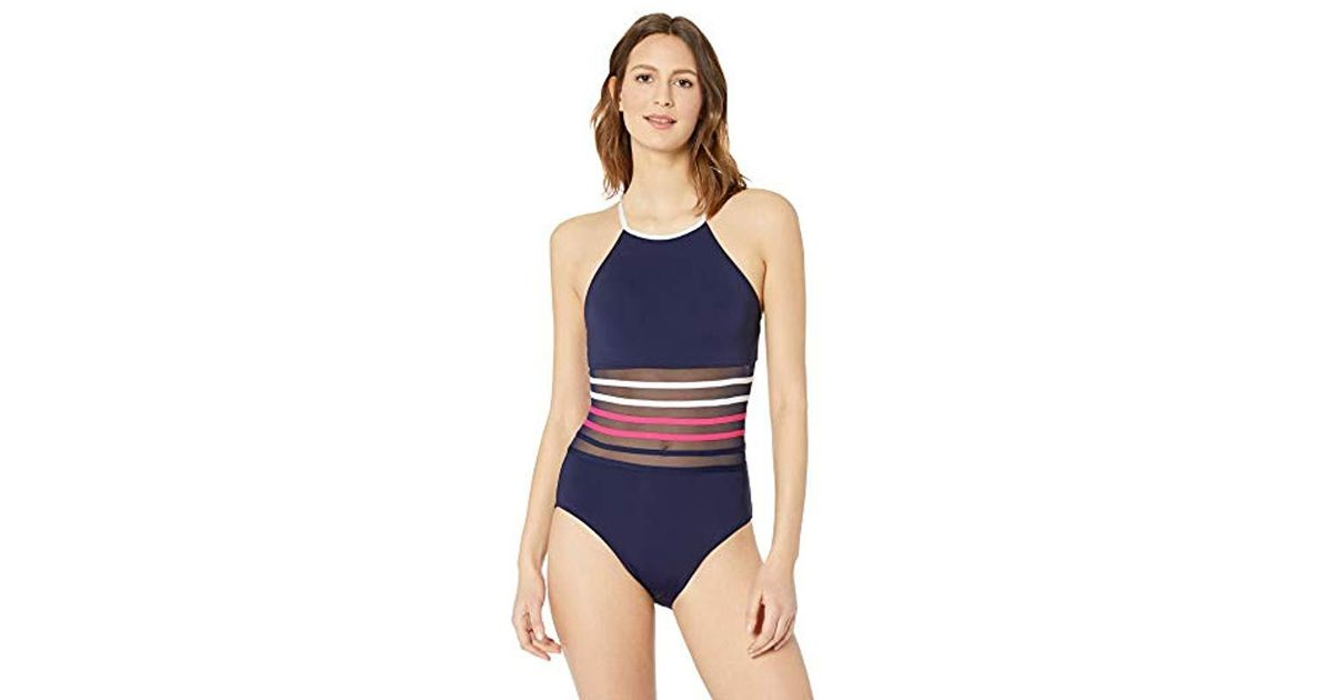 edb57676ce69d Lyst - Nautica High Neck With Mesh Inset One Piece Swimsuit in Blue