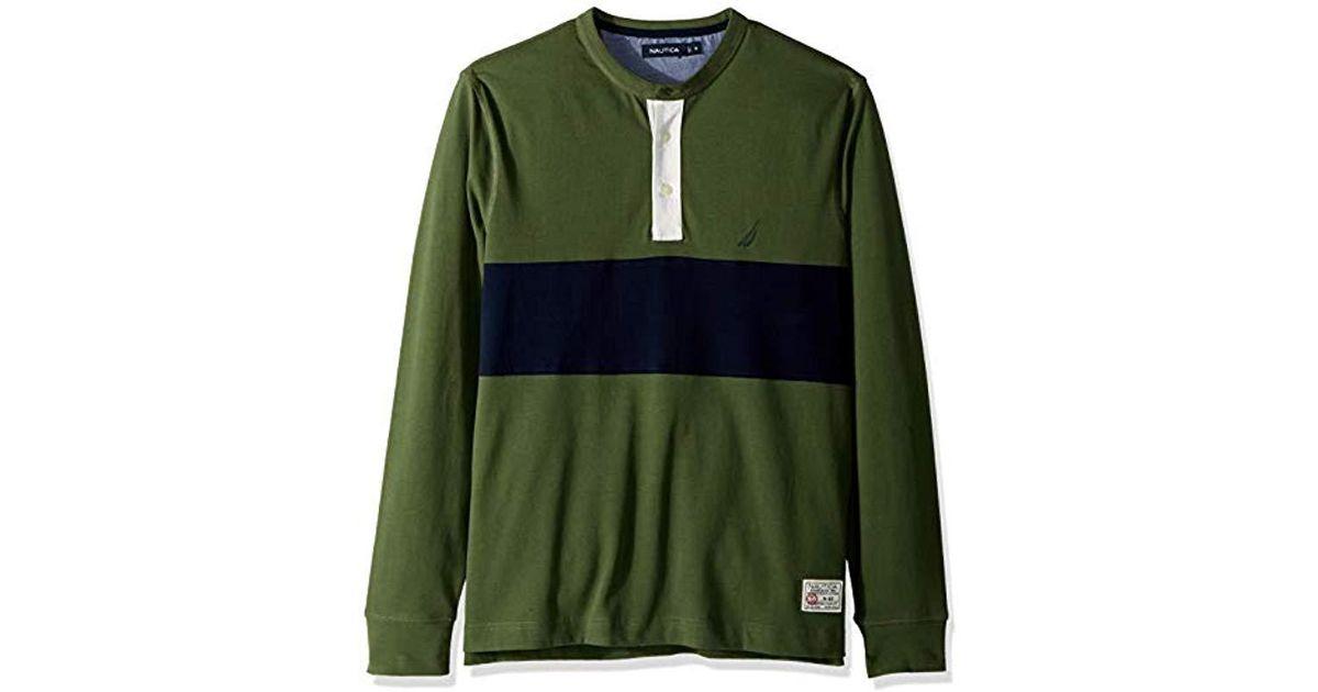 765ff2bc90d Nautica Long Sleeve 3 Button Henley Shirt in Green for Men - Lyst