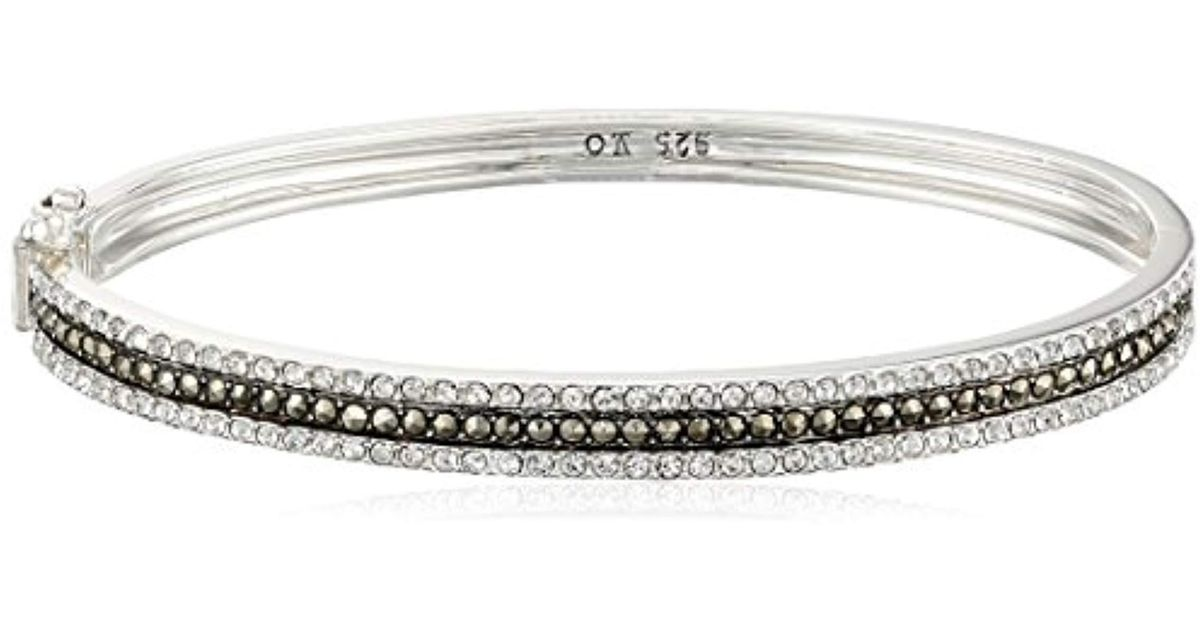 Sterling Silver Marcasite Oval Bangle