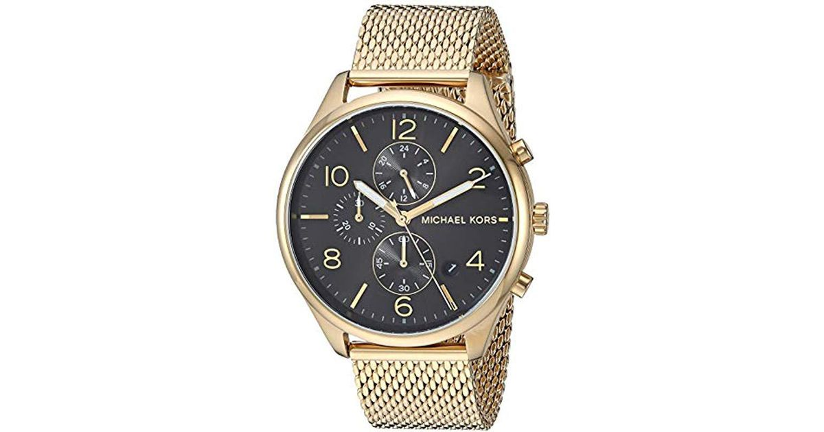 d05489836927 Lyst - Michael Kors Watches Merrick Chronograph Gold-tone Stainless Steel  Watch in Metallic for Men