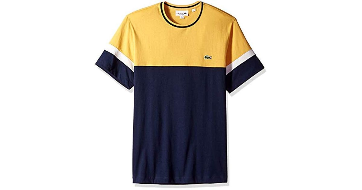 XL Lacoste Mens S//S Striped Jersey Raye T-Shirt Regular FIT Shirt Navy Blue//Flour