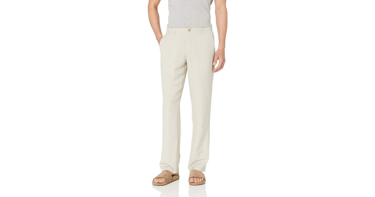 Essentials Mens Classic-fit Flat-Front Linen Pant