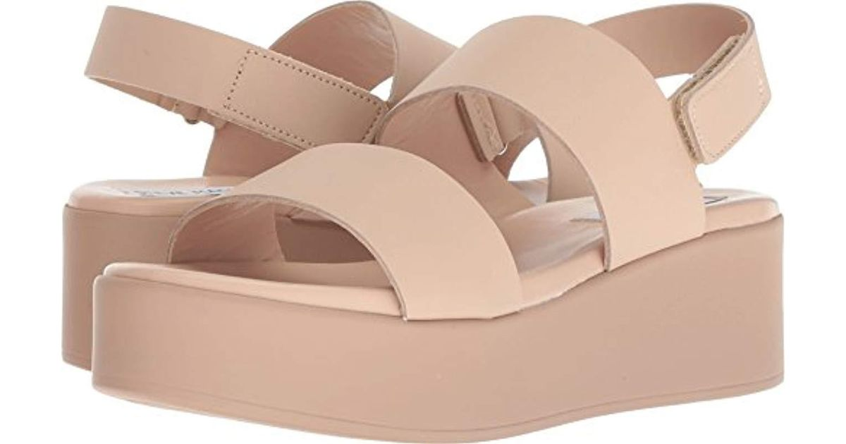 various styles size 7 classic styles Steve Madden Rachel Wedge Sandal in Nude Leather (Natural) - Lyst