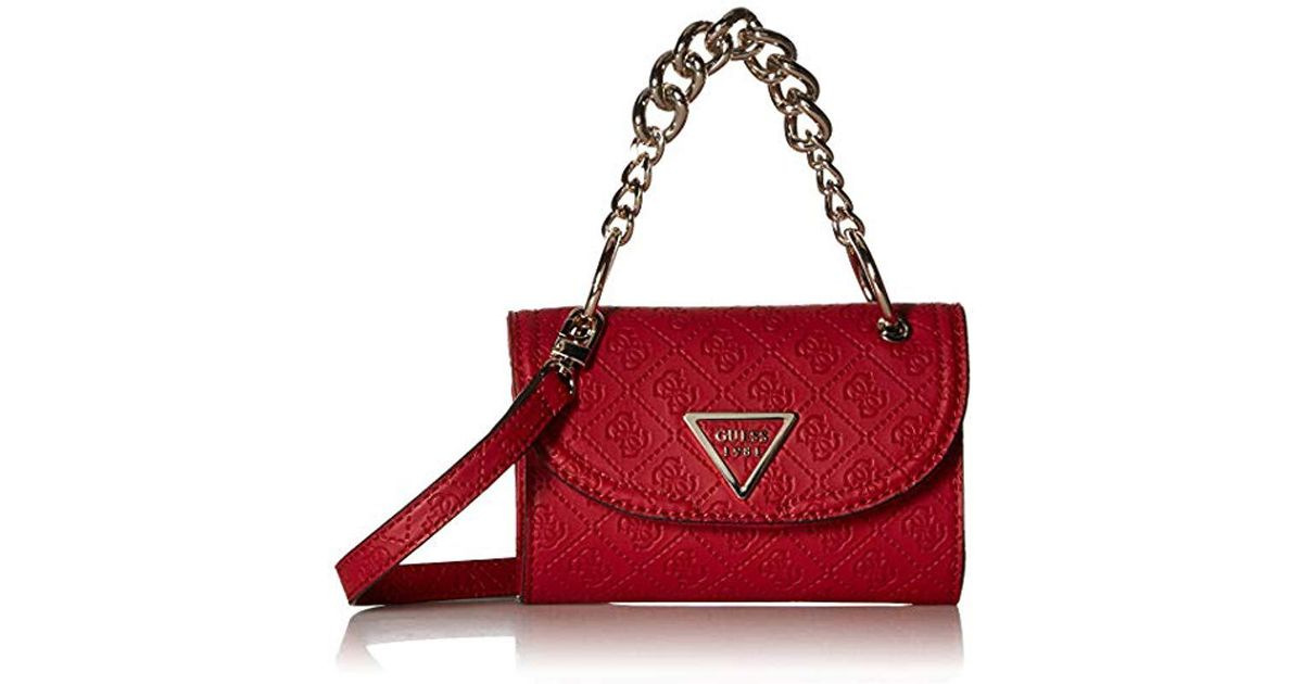 Guess Synthetic Lyra Mini Crossbody Flap In Red Lyst
