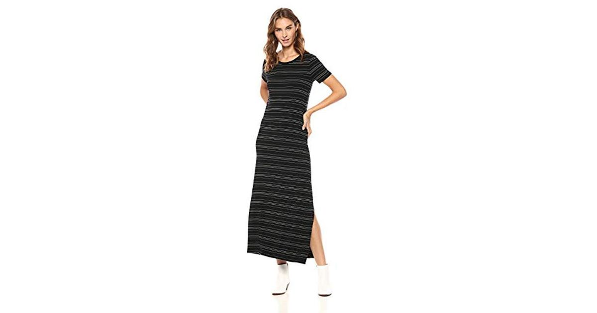 675407039e Lyst - Daily Ritual Jersey Crewneck Short Sleeve Maxi Dress With Side Slit  in Black