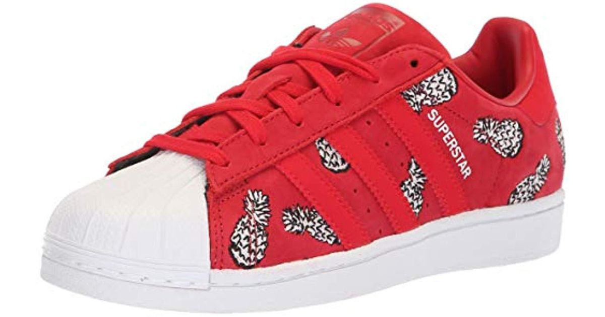 Adidas Originals Red Superstar Foundation J Running Shoe