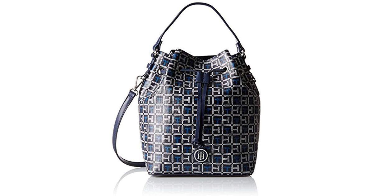 233e2107f Tommy Hilfiger Blue Mara Logo Drawstring Bucket Bag