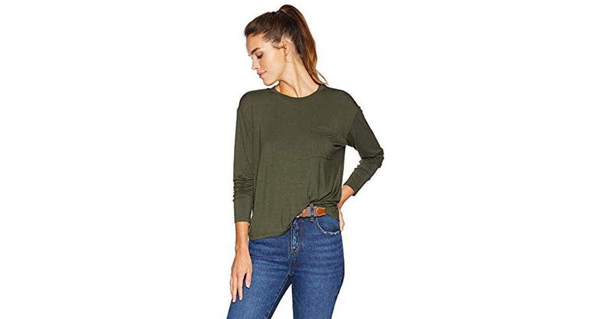 06de3a417116 Lyst - Daily Ritual Jersey Long-sleeve Boxy Pocket Tee in Green