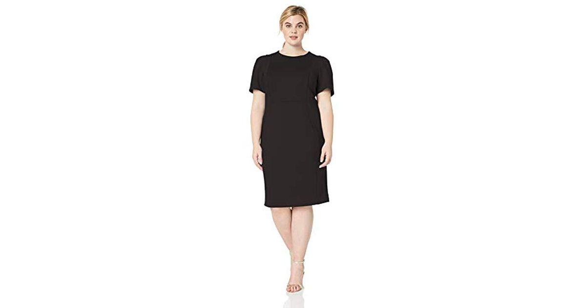 Calvin Klein Black Plus Size Short Sleeved Sheath With Princess Seams Dress