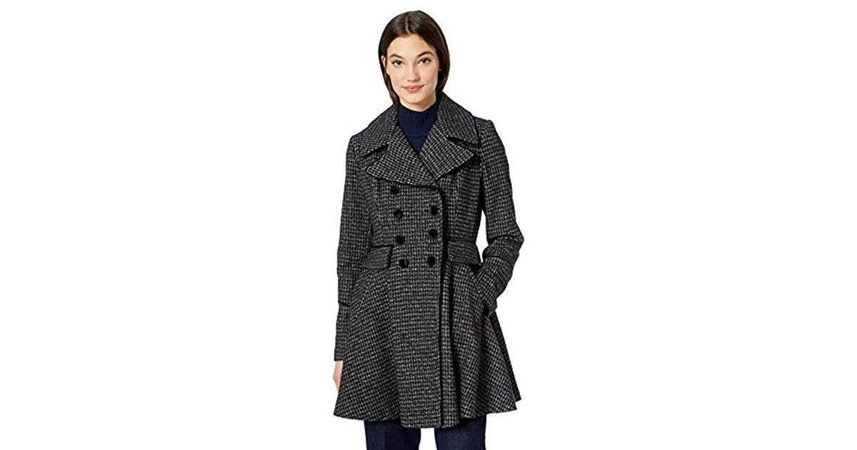 12a8e1b60 Guess Black Fashion Plaid Fit And Flare Double Breasted Wool Coat