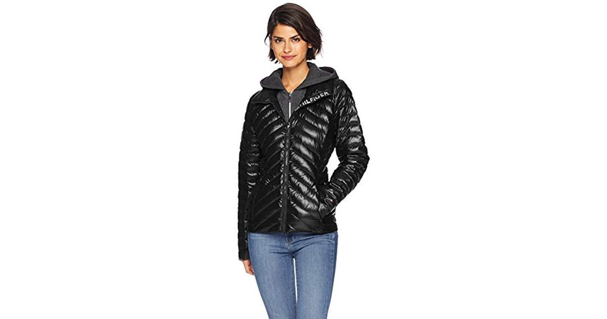 2297fa387 Tommy Hilfiger Black Short Packable Down Jacket With Logo And Zipout Fleece  Hood