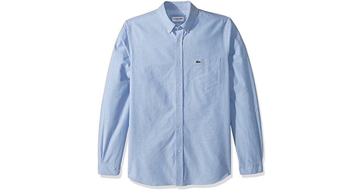 31036efd Lacoste Blue Long Sleeve Oxford Button Down Collar Regular Fit Woven Shirt,  Ch4976 for men