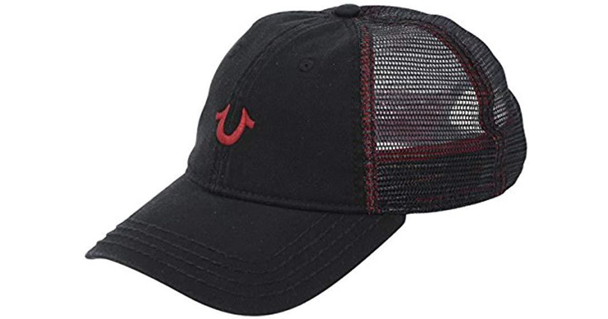 e6e6d0ffe2a Lyst - True Religion Core Logo Trucker Cap in Black for Men