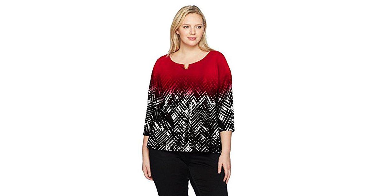 4d39abca4f79a1 Lyst - Calvin Klein Plus Size L/s Prt W/u Hware in Red - Save 42%