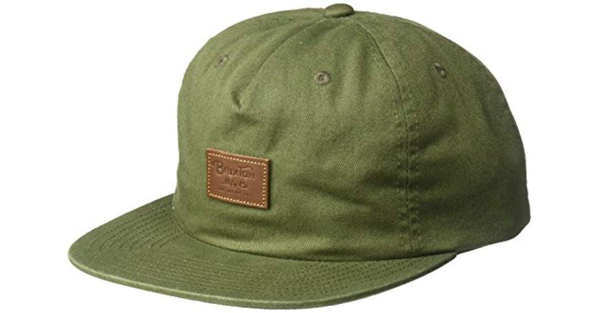 34c16067ce2 Lyst - Brixton Grade Ii Medium Profile Adjustable Unstructured Snapback Hat  in Green for Men