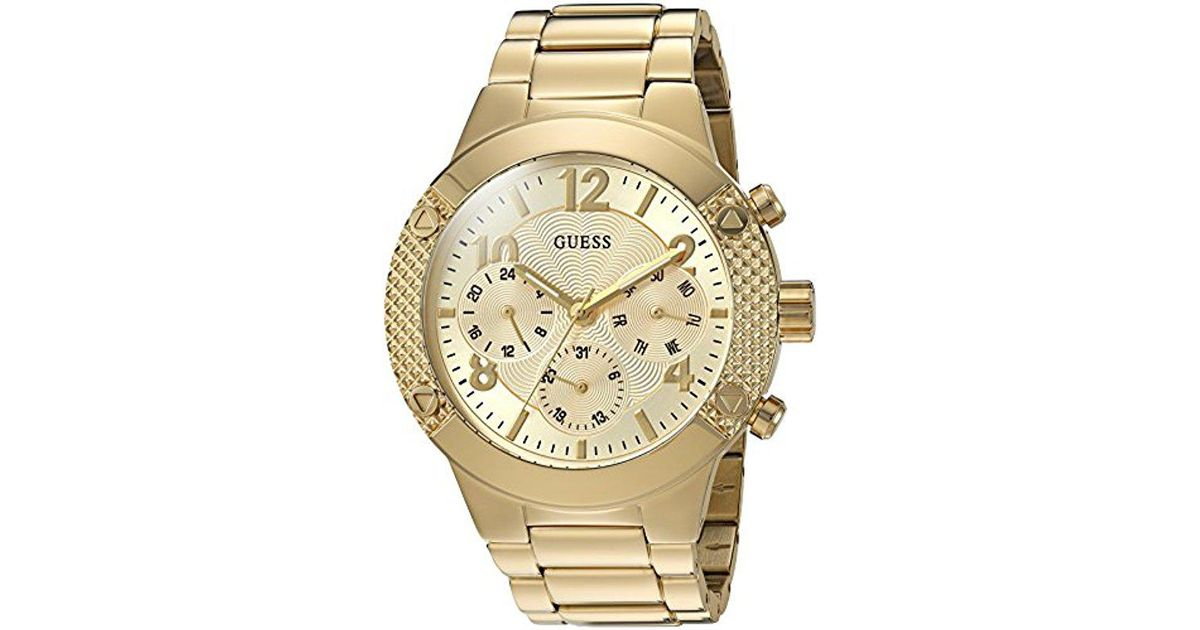 f621a444d4a7 Lyst - Guess U0849l2 Sporty Gold-tone Stainless Steel Watch With  Multi-function Dial And Pilot Buckle in Metallic