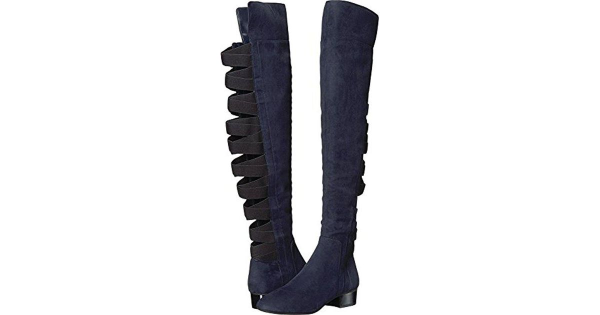 e8b8a74a426 Lyst - Nine West Ooohaah Wool Over The Over The Knee Boot in Blue - Save 72%