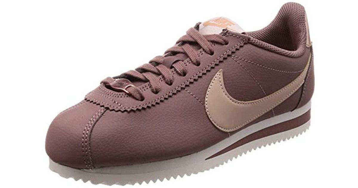 new style d05a9 536a3 Nike Purple Wmns Classic Cortez Leather Gymnastics Shoes