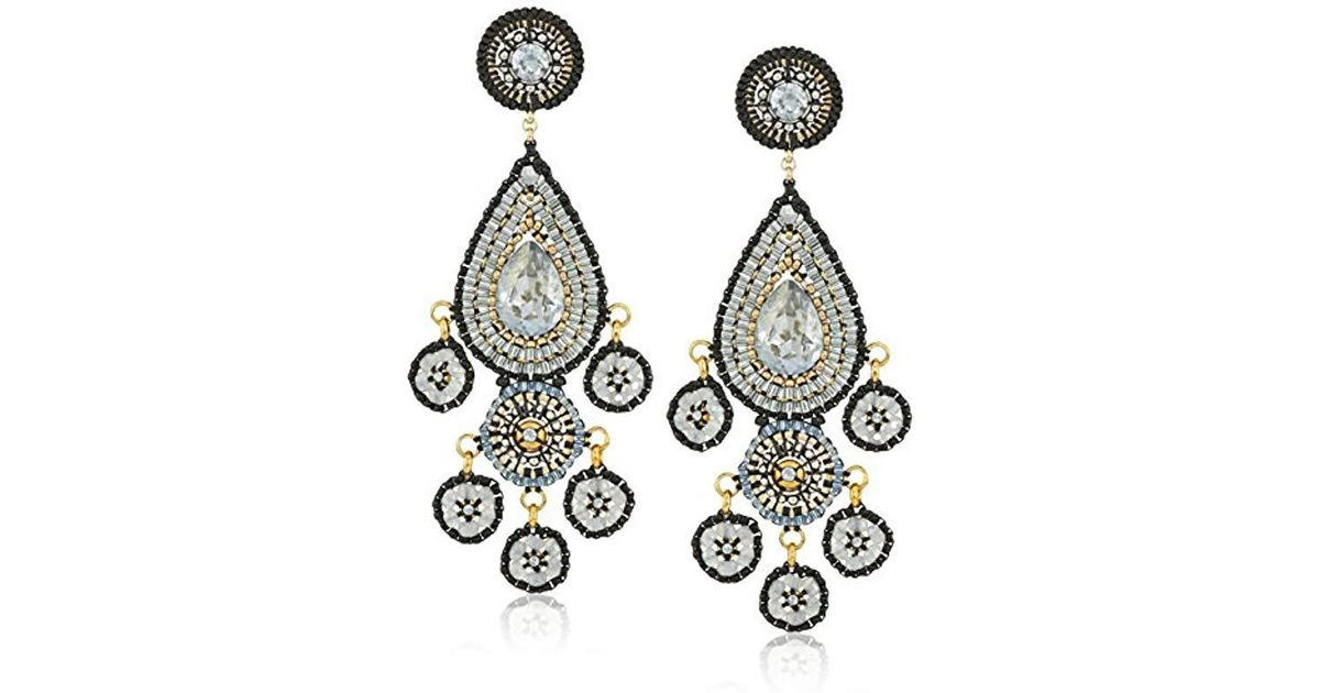 a24d0b0e5 Lyst - Miguel Ases Onyx Teardrop Smoky Swarovski Post Chandelier Drop  Earrings