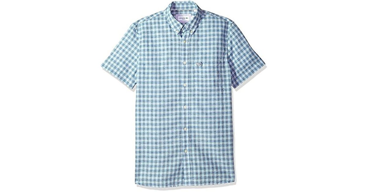 3ce94996 Lacoste Blue Short Sleeve Cotten/linen Checked Button Down Collar Slim  Woven Shirt, Ch5008 for men
