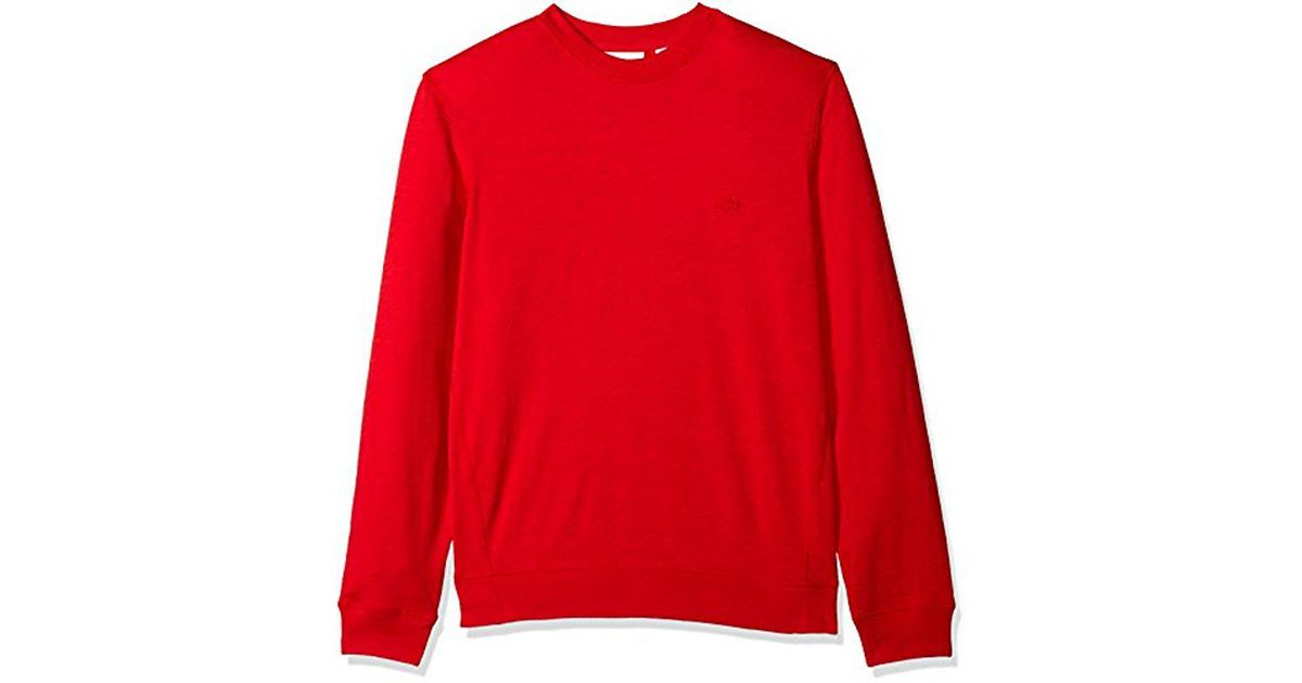 824fce9e Lacoste Red Long Sleeve Light French Terry Tonal Croc Sweatshirt, Sh3298  for men