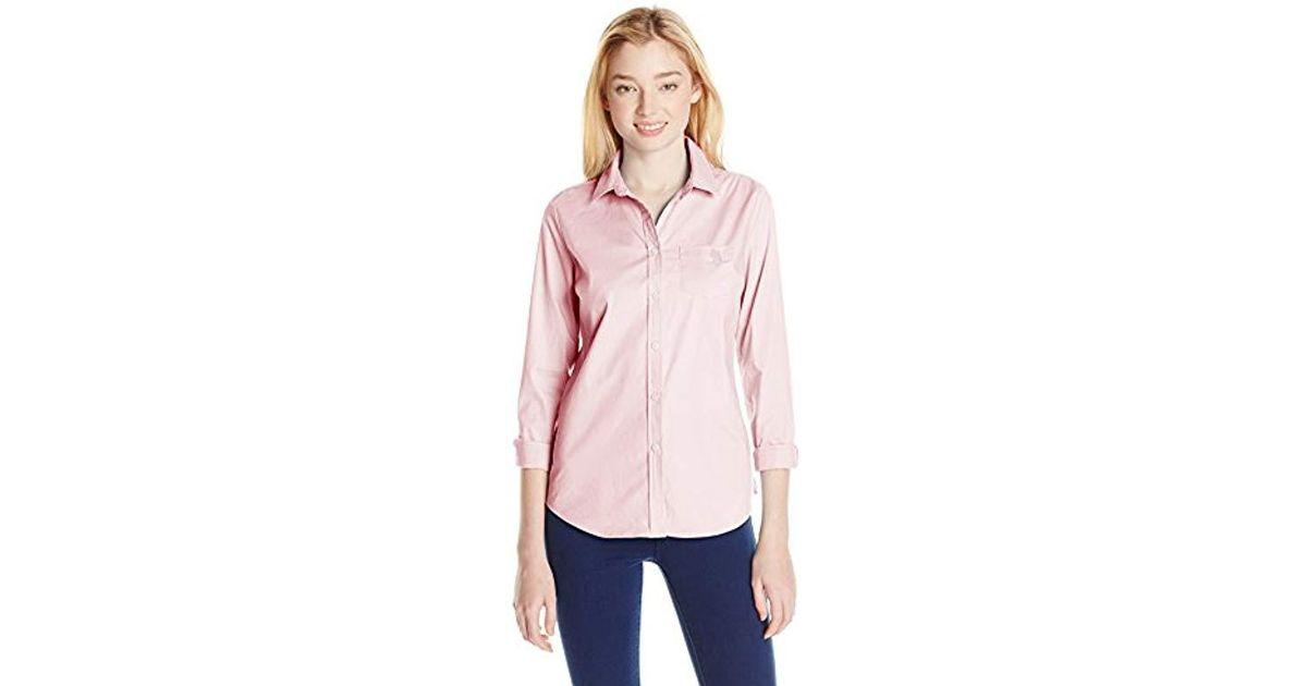 9de7ab2c136 Lyst - U.S. Polo Assn. Juniors  Long Sleeve Stretch Poplin Woven Shirt in  Pink