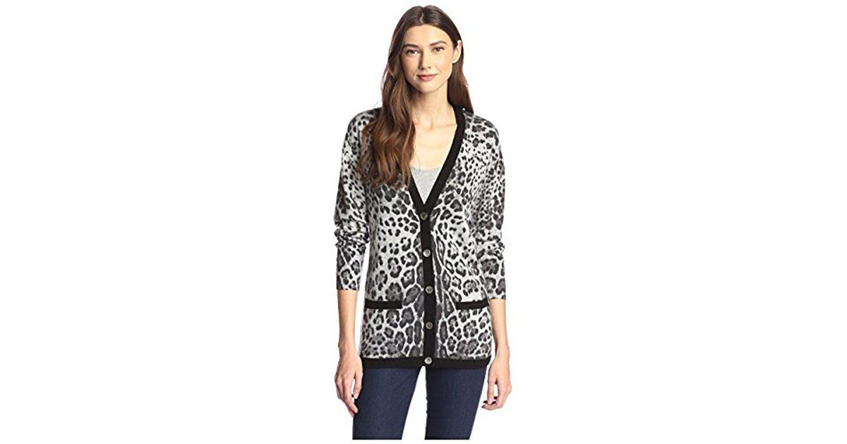 9839a0b59b5 Lyst - James   Erin Cashmere Snow Leopard Cardigan in Gray