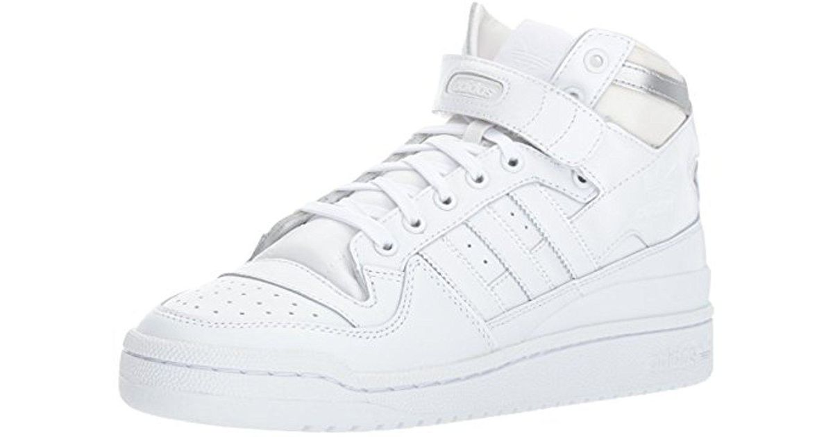quality design 9e7ed eff4a Lyst - adidas Originals Shoes   Forum Mid Refined Sneakers, White white metallic  Silver, (6 M Us) in White for Men