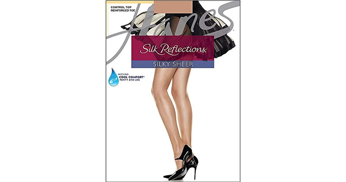 8df60218422 Lyst - Hanes Silk Reflections Thigh-high Stockings in Pink