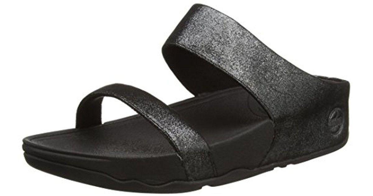d3f3d6c16012 Lyst - Fitflop Lulu Shimmersuede Slide Sandal in Black