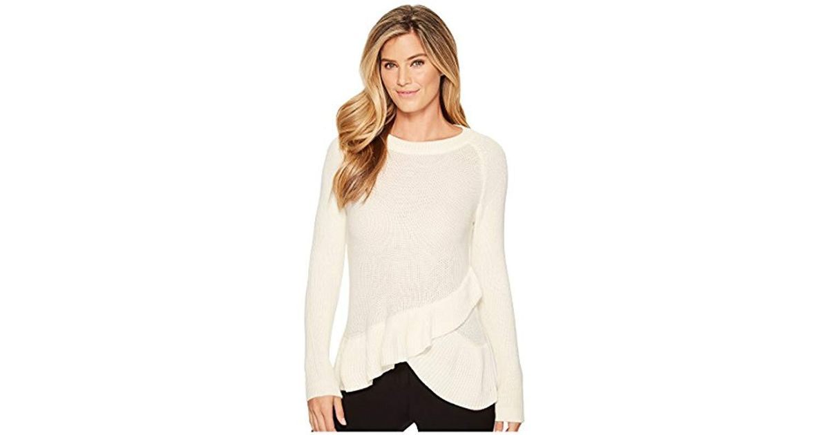 c779ae2d40 Lyst - Ivanka Trump Pullover Long Sleeve Ruffle Tier Sweater in Natural