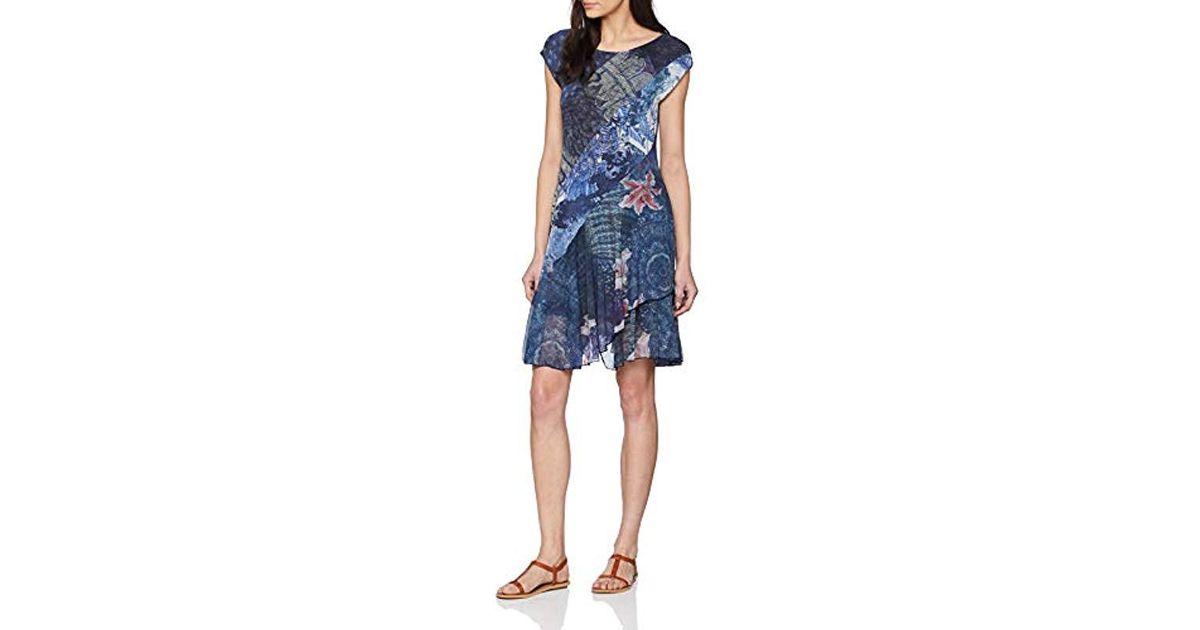 Desigual Dress Straps Greta Woman Blue Robe Femme