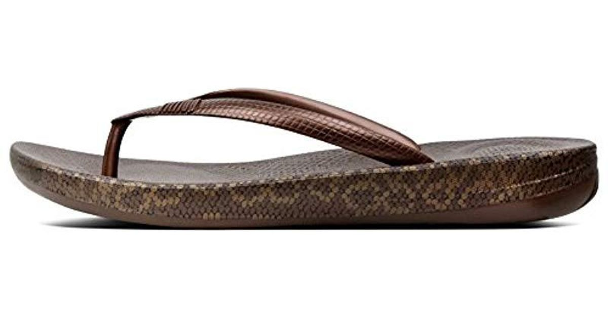 14565ef7c1ca Fitflop  s Iqushion Snakeprint Flip Flops in Brown - Lyst
