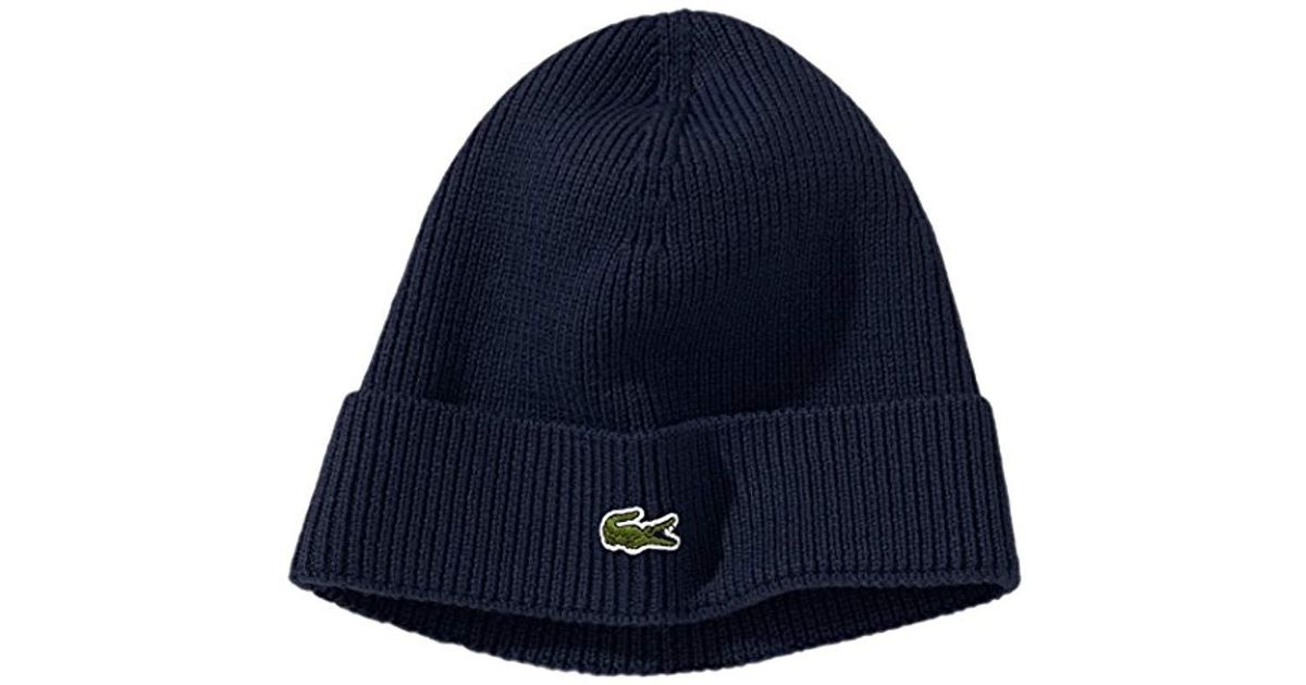 40f71ed60ebbe Lacoste Ribbed Beanie With Flap Accessories in Blue for Men - Lyst