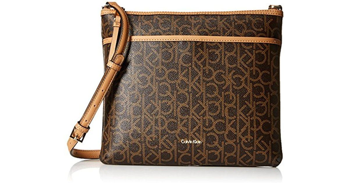 c8ac87bf01 Calvin Klein Hudson Signature Crossbody Flat Pack in Brown - Lyst