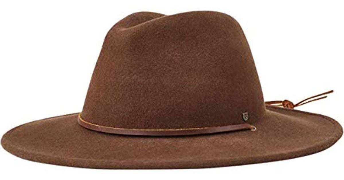 11437d40c4f8d Lyst - Brixton Field Wide Brim Felt Fedora Hat in Brown for Men