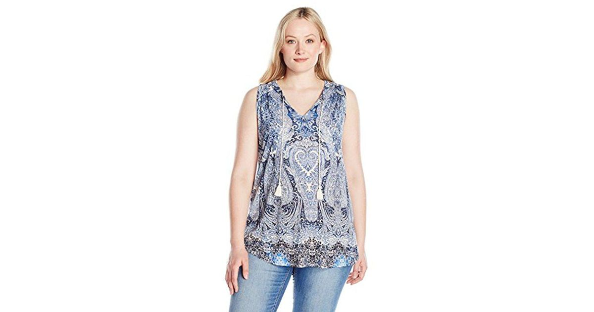 7e8c18eeee4f62 Lyst - Lucky Brand Plus Size Paisley Printed Tank Top in Blue