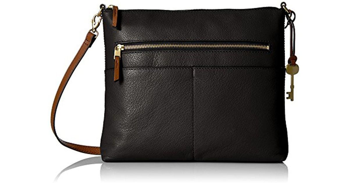 Lyst - Fossil Fiona Large Crossbody Bag in Black 5b8a3f738c