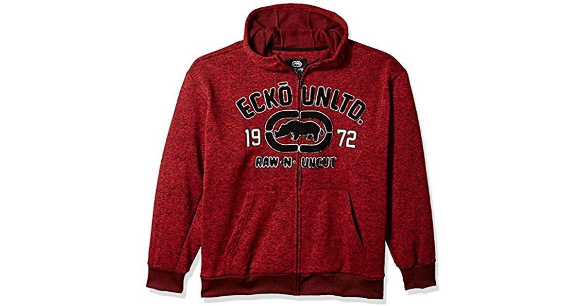 Ecko' Unltd Red Ecko Unlimited Rhino Raw & Uncut Fleece Hoodie for men