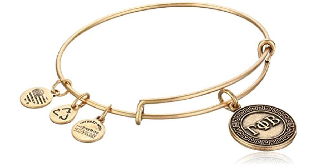 Lyst Alex And Ani Sorority Gamma Phi Beta Expandable Wire Bangle Bracelet In Metallic