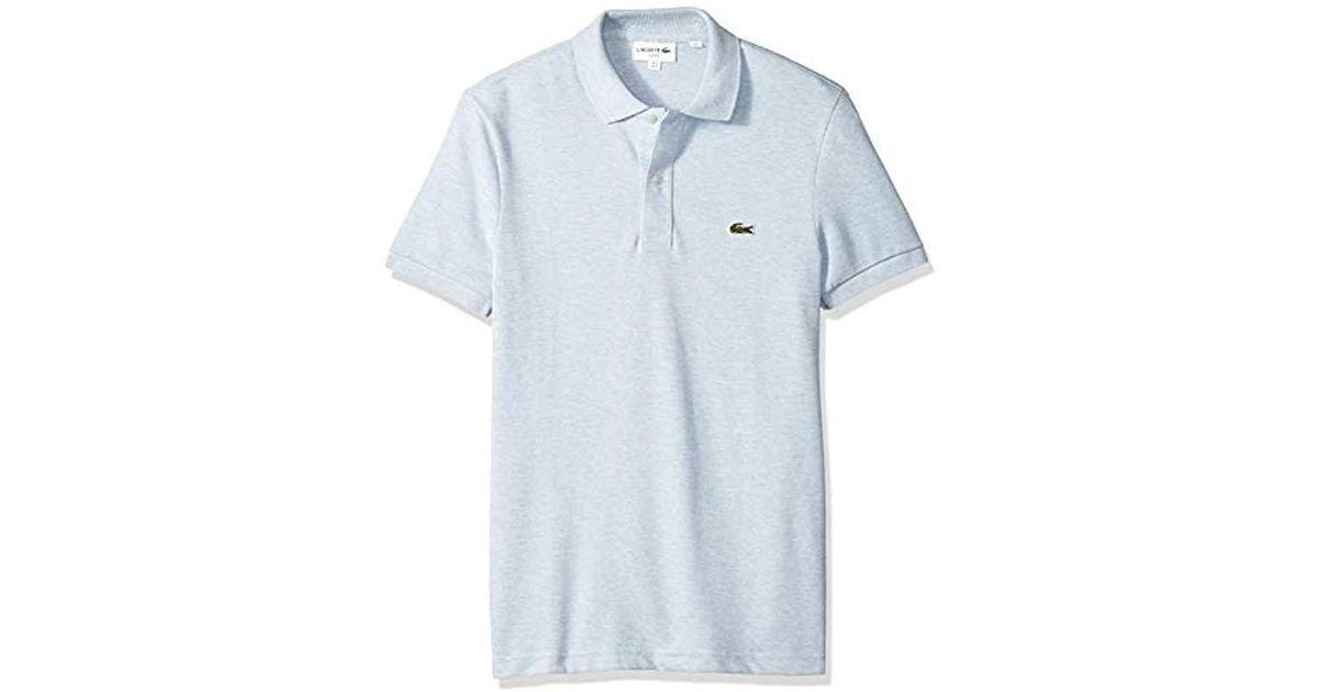 cbbca6f989a0 Lacoste. Men s Blue Classic Pique Slim Fit Short Sleeve Polo Shirt ...