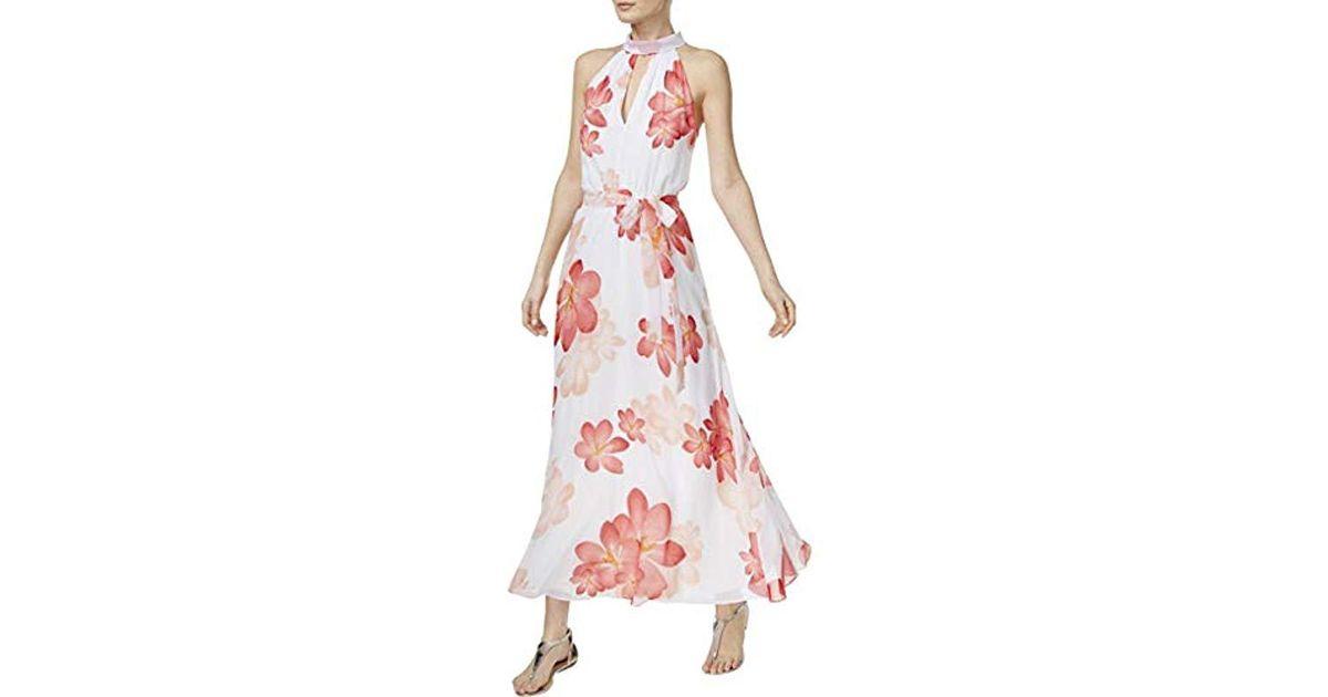 1b734033478 Lyst - Calvin Klein Halter Neck Chiffon Maxi Dress In Floral Print in Pink