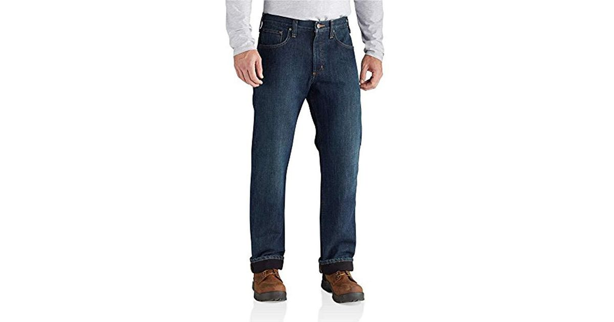 eca1d750 Lyst - Carhartt M Relaxed Fit Holter Jean Fleece Lined in Blue for Men