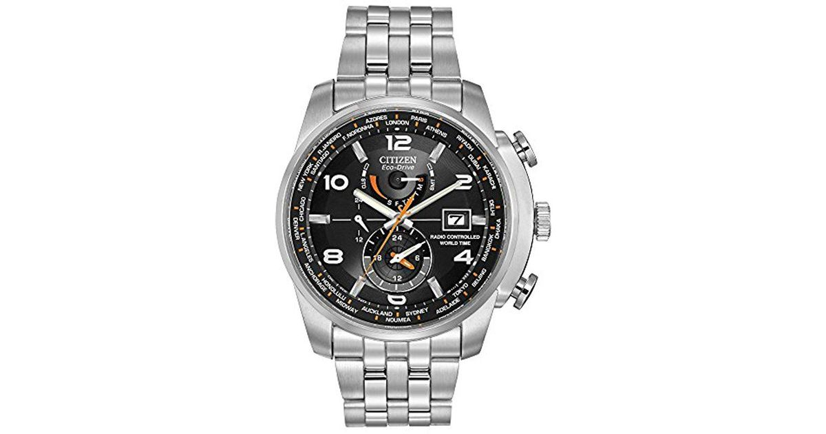 Citizen Metallic Eco-drive Silvertone And Black World Time A-t Watch for men