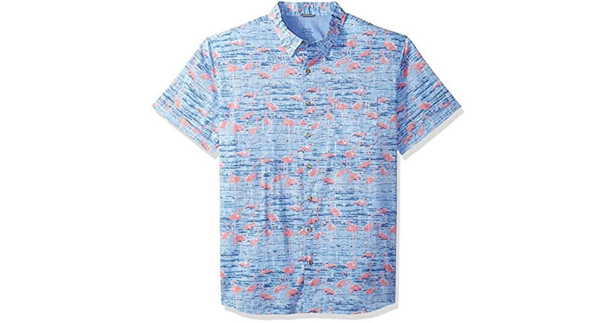 2cfce863 Lyst - Izod Big & Tall Saltwater Chambray Short Sleeve Shirt in Blue for Men