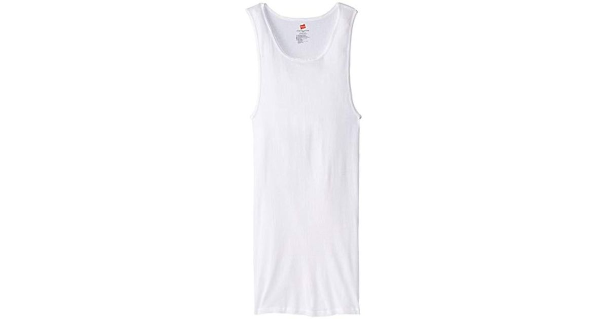 277d65f9e25e39 Lyst - Hanes Tall Man Ribbed Tank Top (pack Of Three) in White for Men